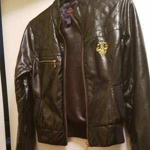 Dereon by Beyonce Black Faux Leather Jacket L